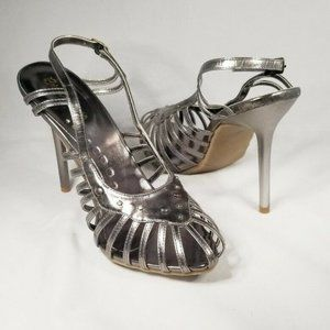 Silver Pewter Strappy High Heels Brian Anderson